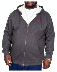Bigdude Sherpa Lined Zip Hoody Charcoal Tall