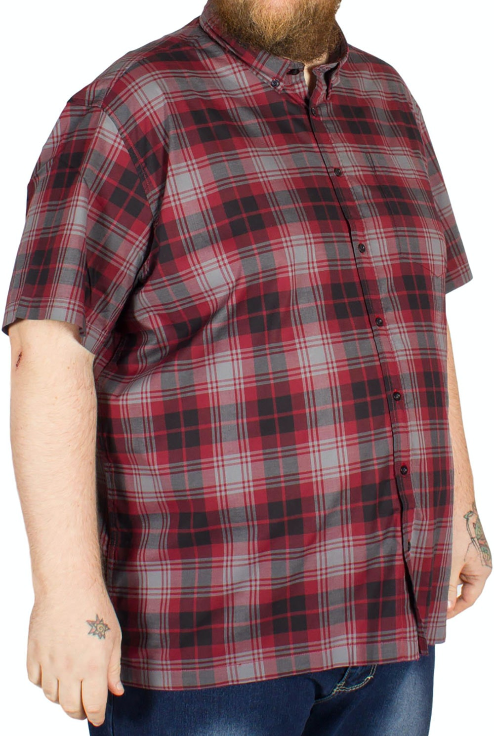Bigdude Short Sleeve Check Shirt Red/Grey