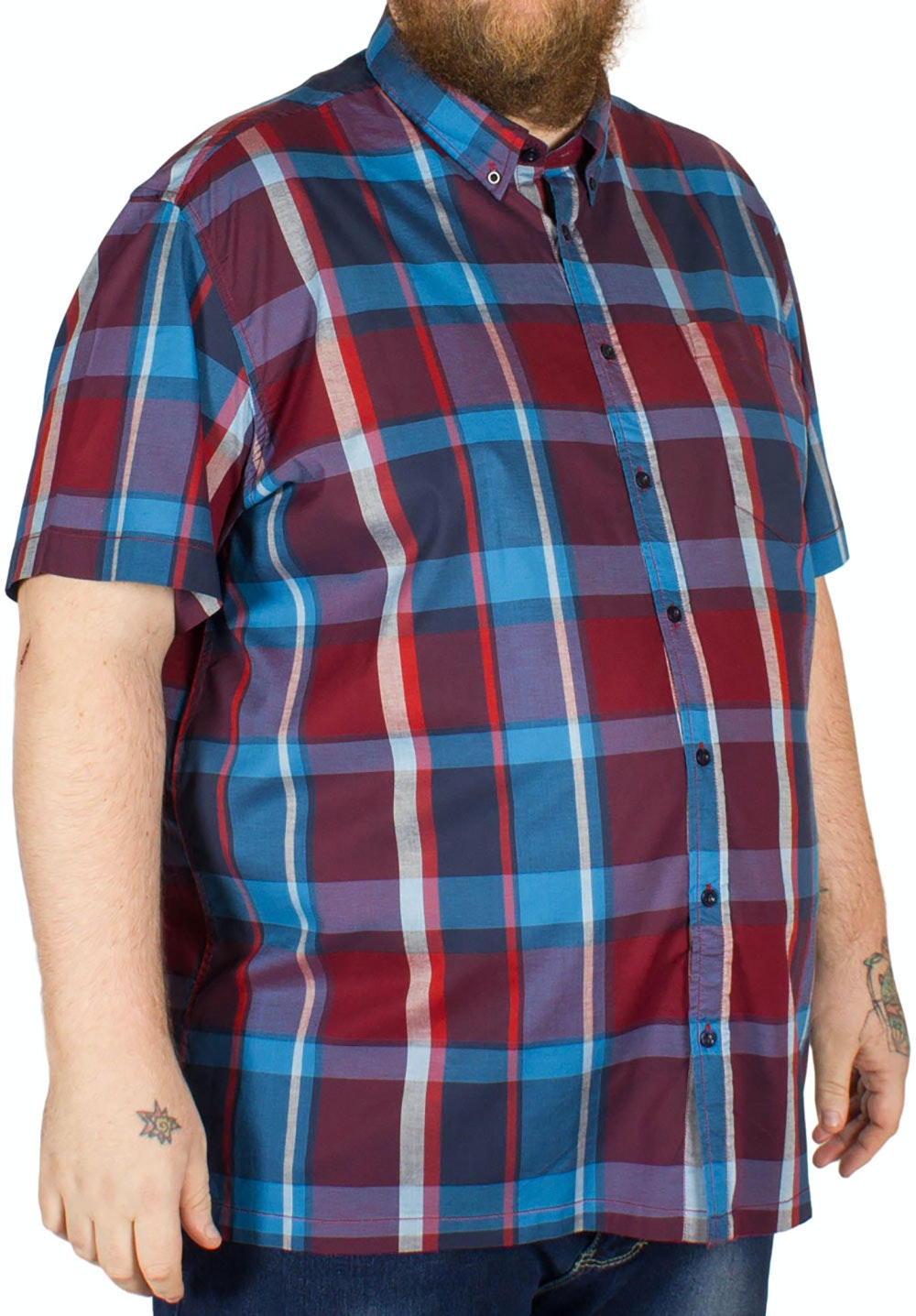 Bigdude Short Sleeve Check Shirt Red/Blue