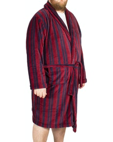Espionage Stripe Fleece Dressing Gown Wine/Navy