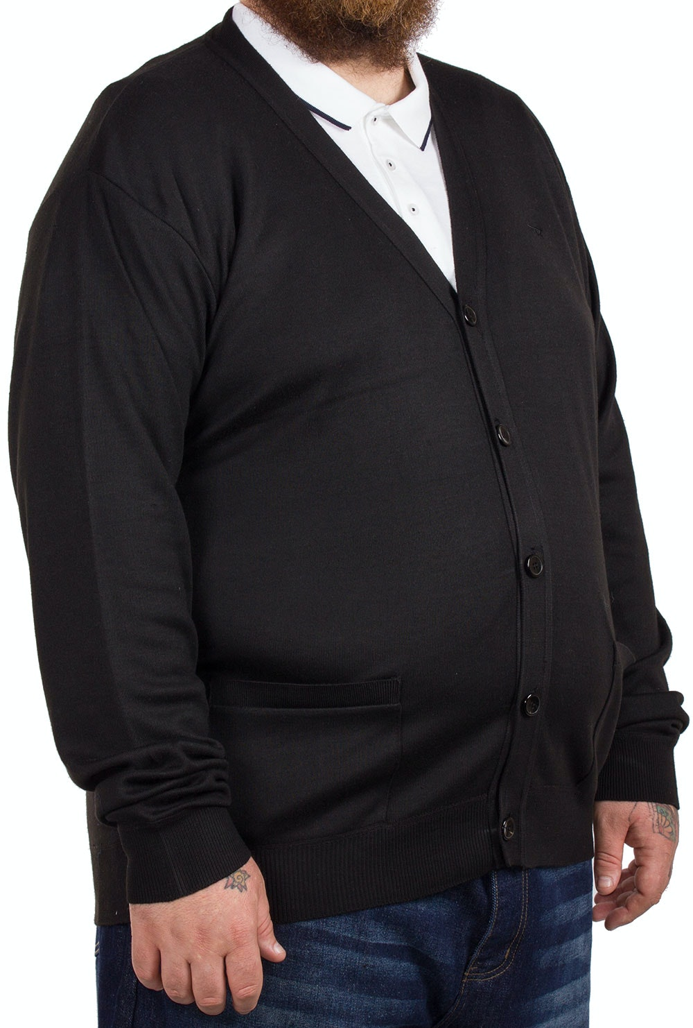 D555 Marsh Black Buttoned Cardigan