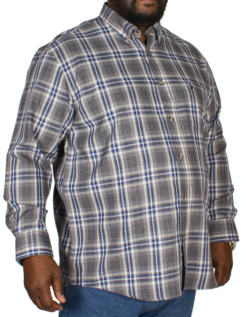 KAM Long Sleeve Flannel Shirt Grey