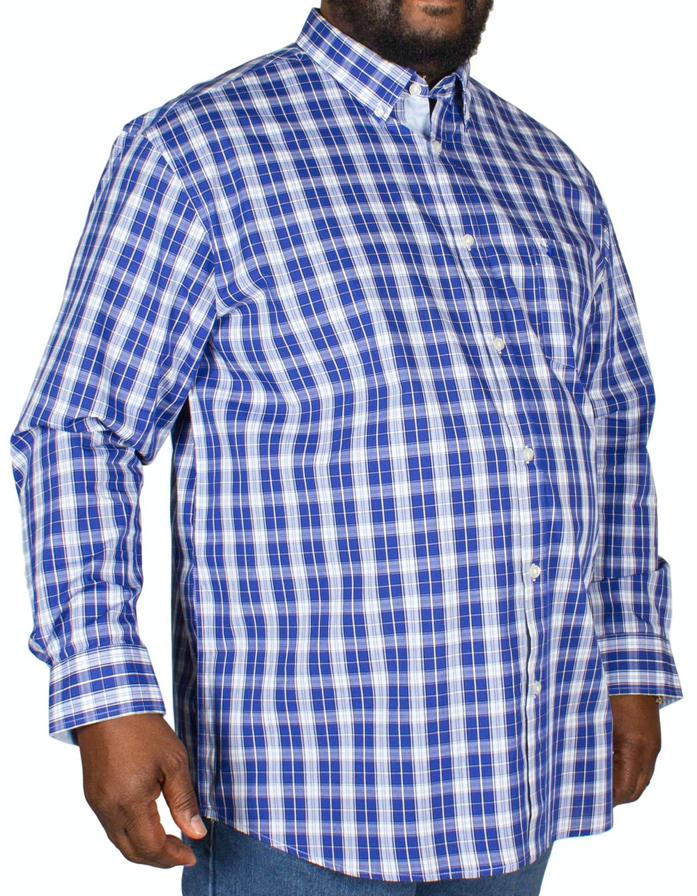 KAM Long Sleeve Casual Check Shirt Blue