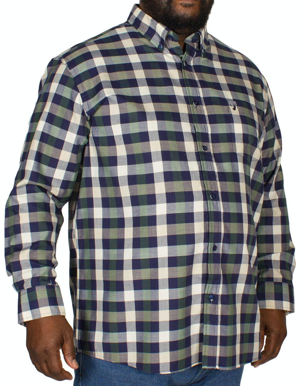 KAM Long Sleeve Check Shirt Dark Ivy/Blue