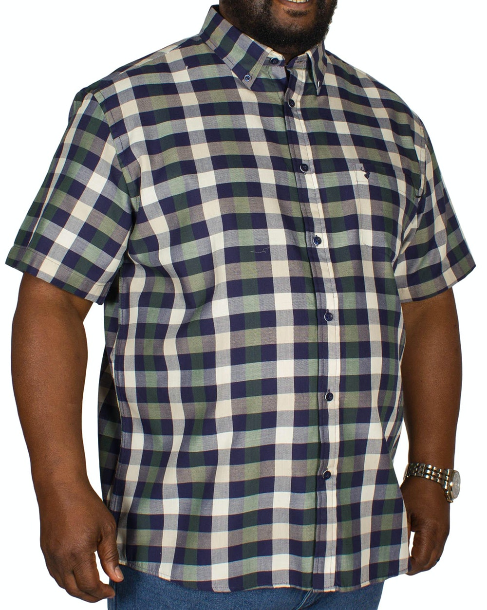 KAM Short Sleeve Check Shirt Dark Ivy/Blue