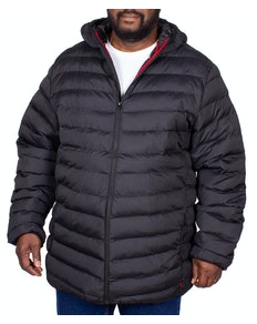 D555 Clark Padded Hooded Jacket Black