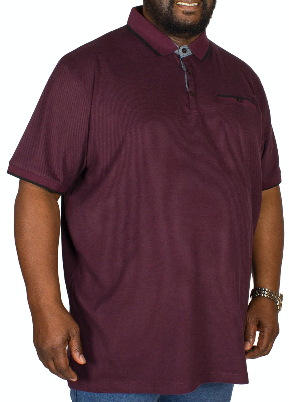 D555 Johan Fine Stripe Polo Shirt Burgundy