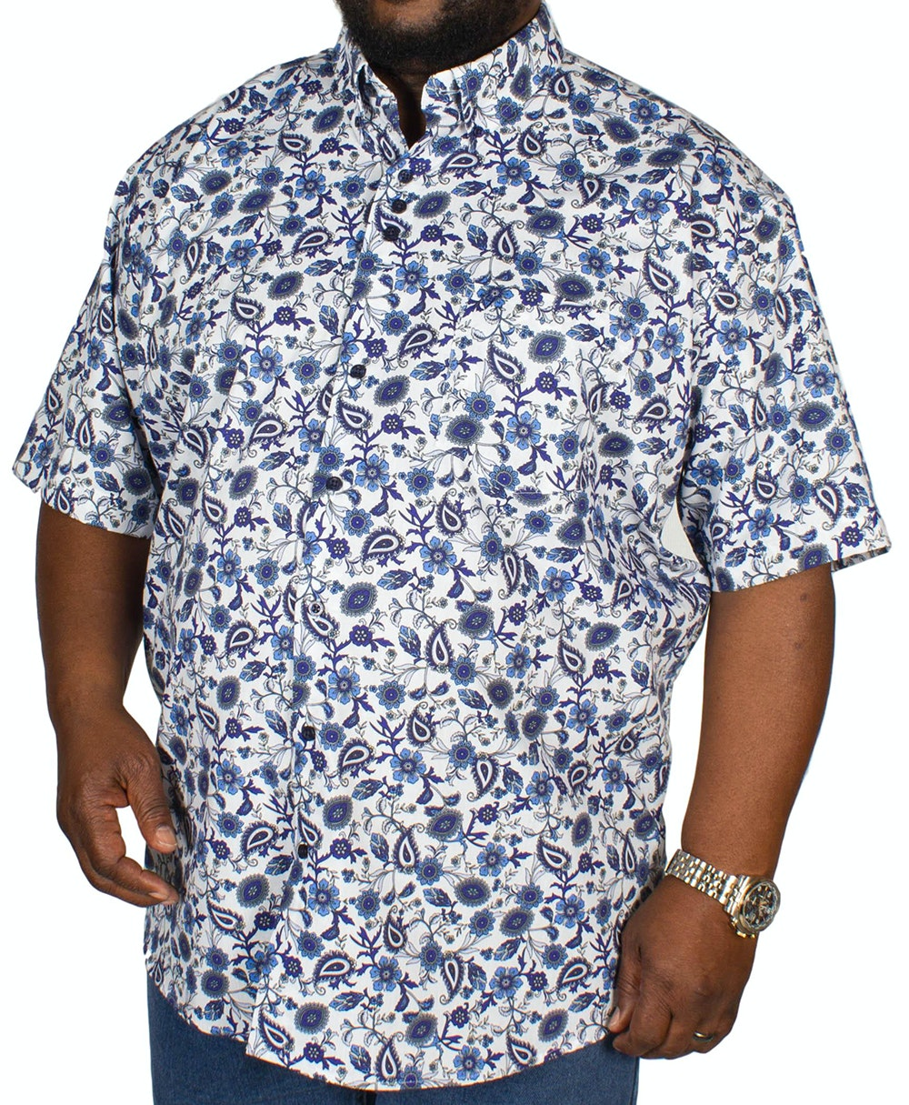 Cotton Valley Floral Short Sleeve Shirt Blue