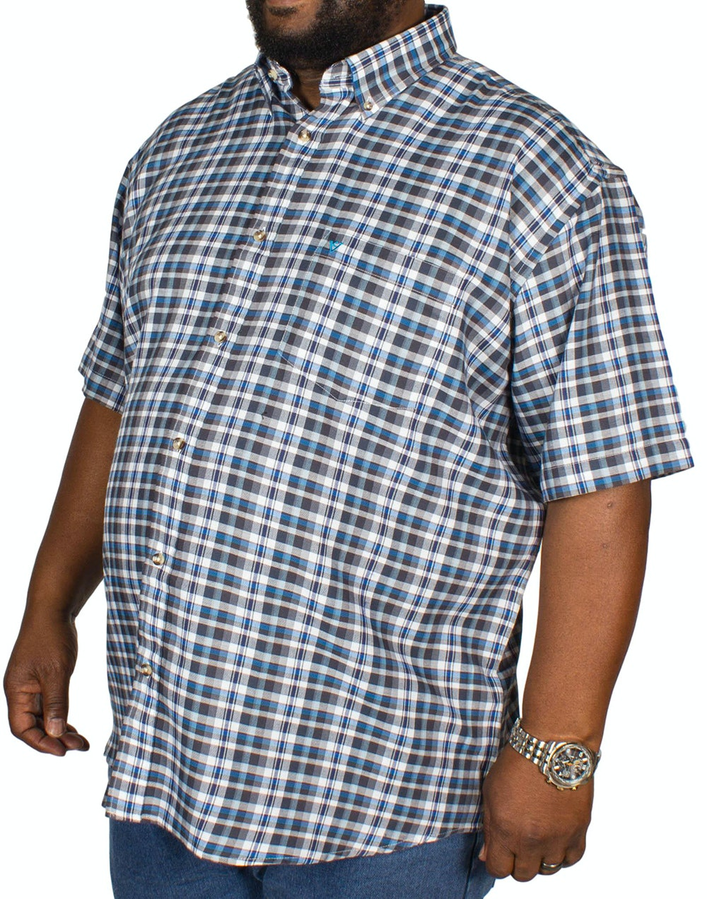 Cotton Valley Twill Check Short Sleeve Shirt Grey