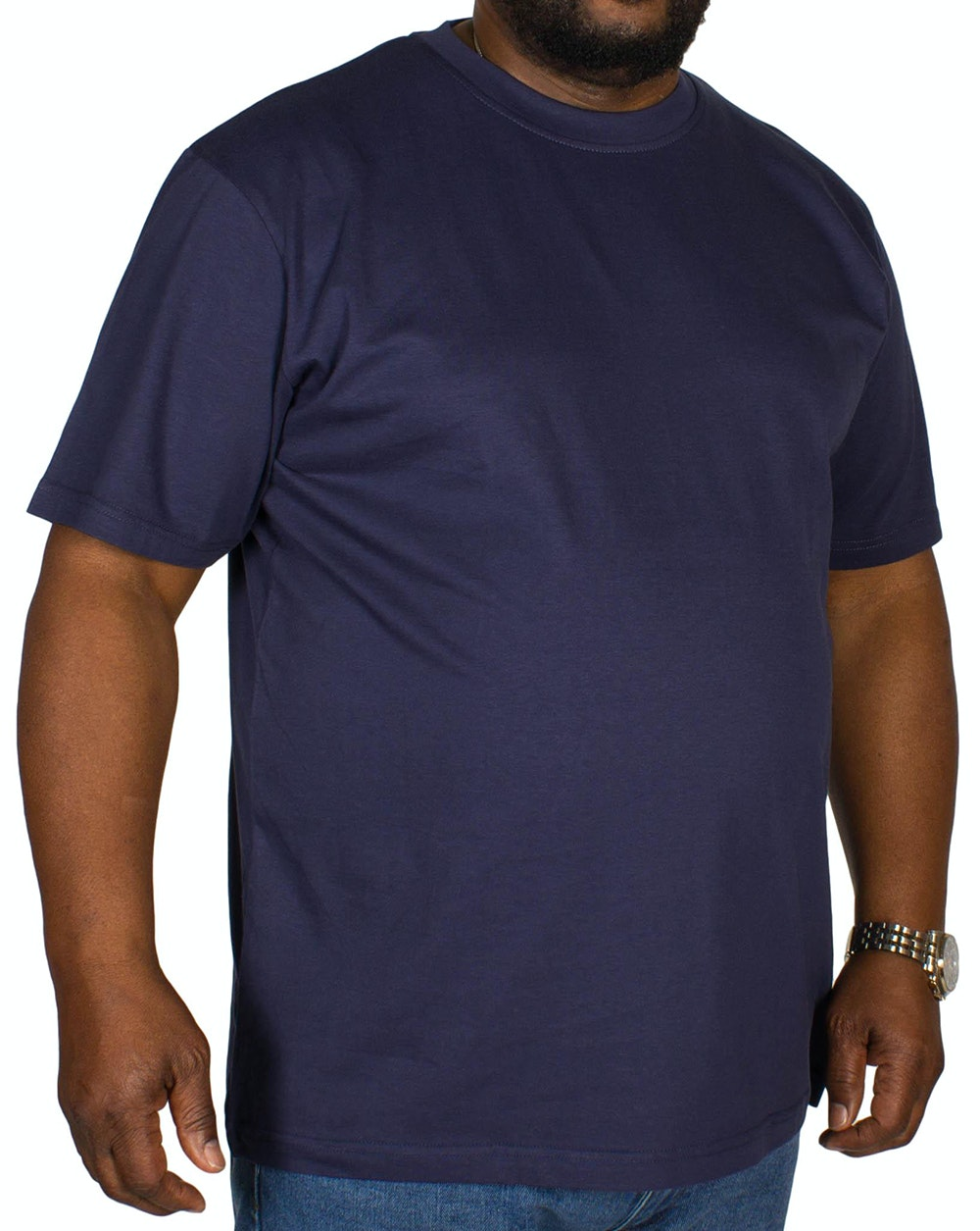 Bigdude Plain Crew Neck T-Shirt Navy Tall