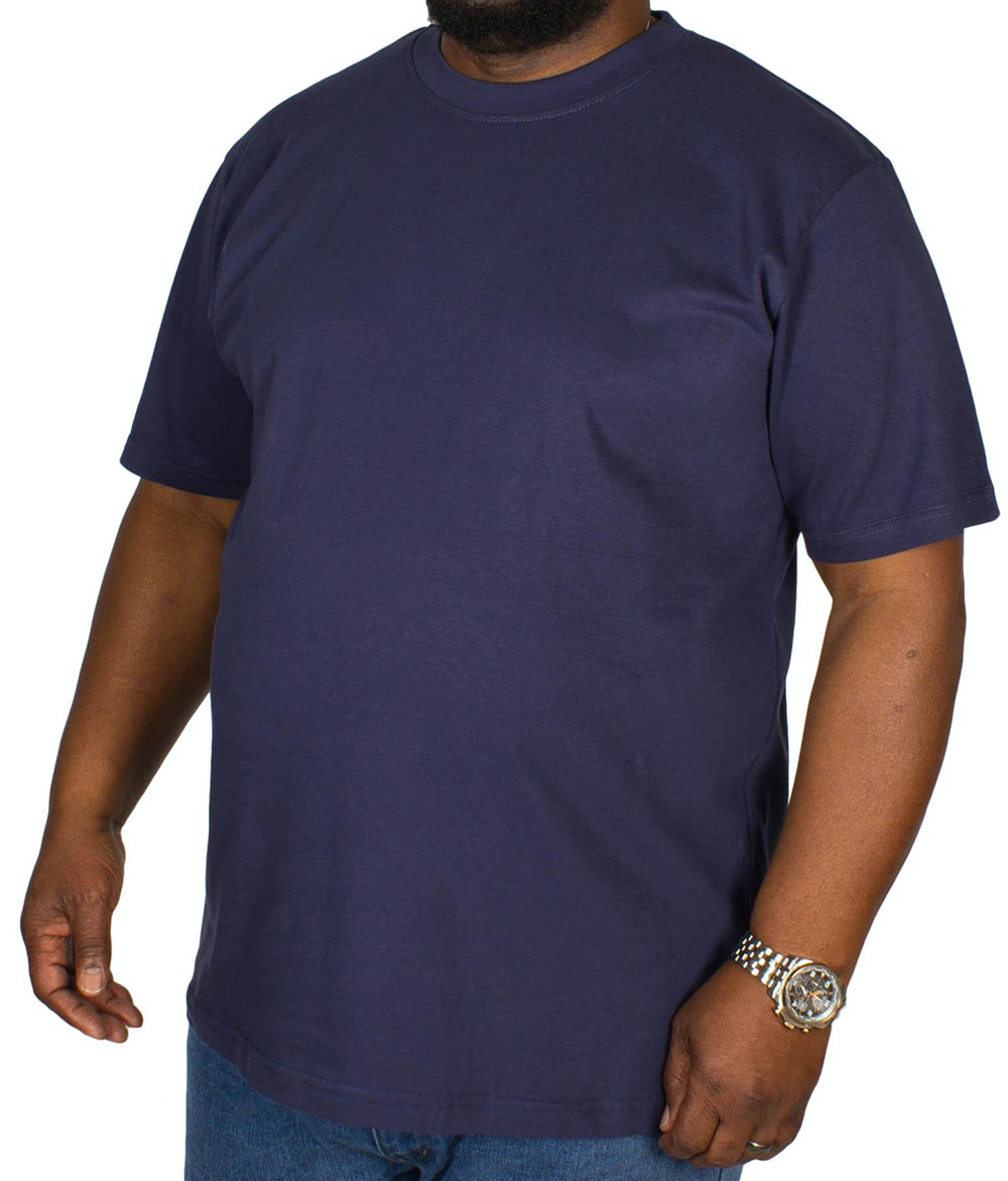 Bigdude Plain Crew Neck T-Shirt- Navy