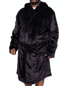 Bigdude Hooded Fleece Dressing Gown Black