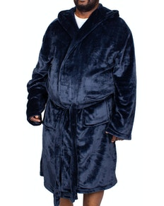 Bigdude Hooded Fleece Dressing Gown Navy