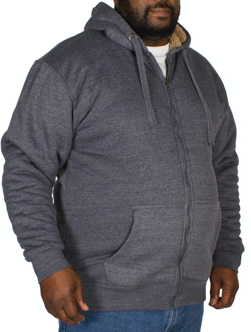 KAM Sherpa Lined Hoody Denim
