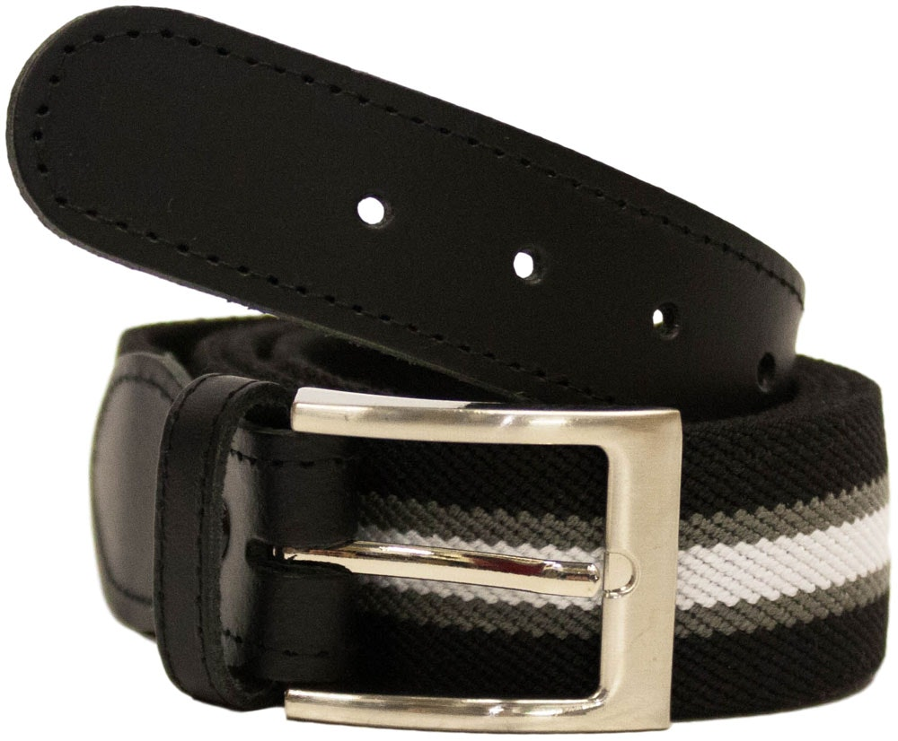 John King Warwick Elasticated Belt Black Stripe