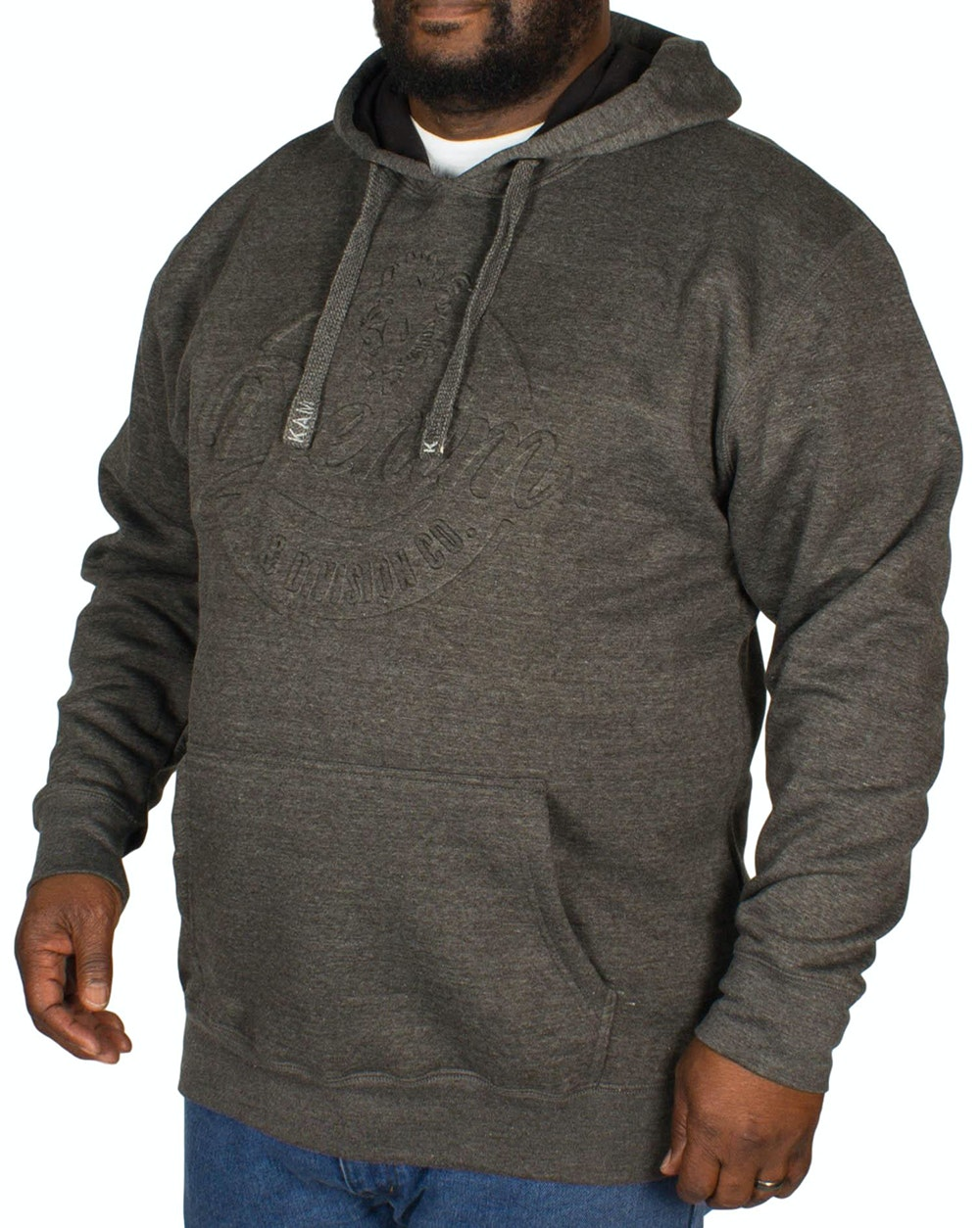 KAM Embossed Denim Hoody Charcoal