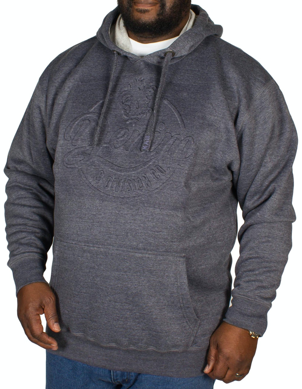 KAM Embossed Denim Hoody Denim