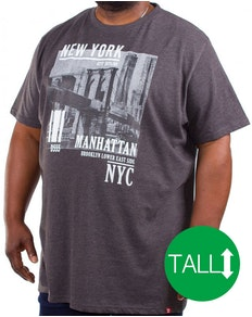 D555 Wesley New York Print T-Shirt Charcoal Tall