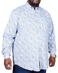 Espionage Long Sleeve Paisley Print Shirt Blue/White