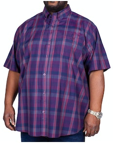 Espionage Short Sleeve Classic Check Shirt Navy/Wine