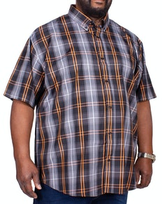 Espionage Short Sleeve Classic Check Shirt Black/Grey