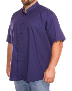 Cotton Valley Short Sleeve Plain Grandad Shirt