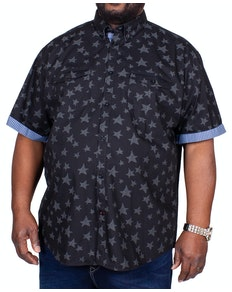 KAM Star Print Short Sleeve Shirt Charcoal