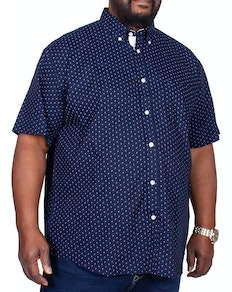KAM Arch Dobby Short Sleeve Shirt Navy