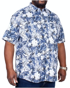 KAM Floral Print Short Sleeve Shirt Navy