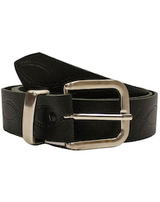 John King Chester Leather Patterned Belt Black
