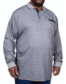 D555 Brockville Long Sleeve Jacquard Polo Shirt Grey Melange