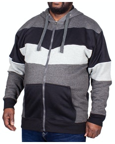 KAM Chevron Stripe Hoody Charcoal