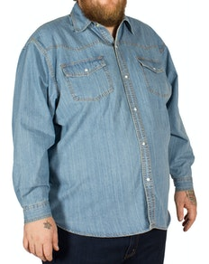 KAM Long Sleeve Denim Shirt Lightwash