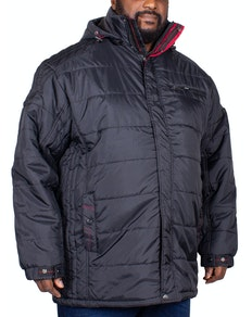 KAM Quilted Hooded Jacket Black