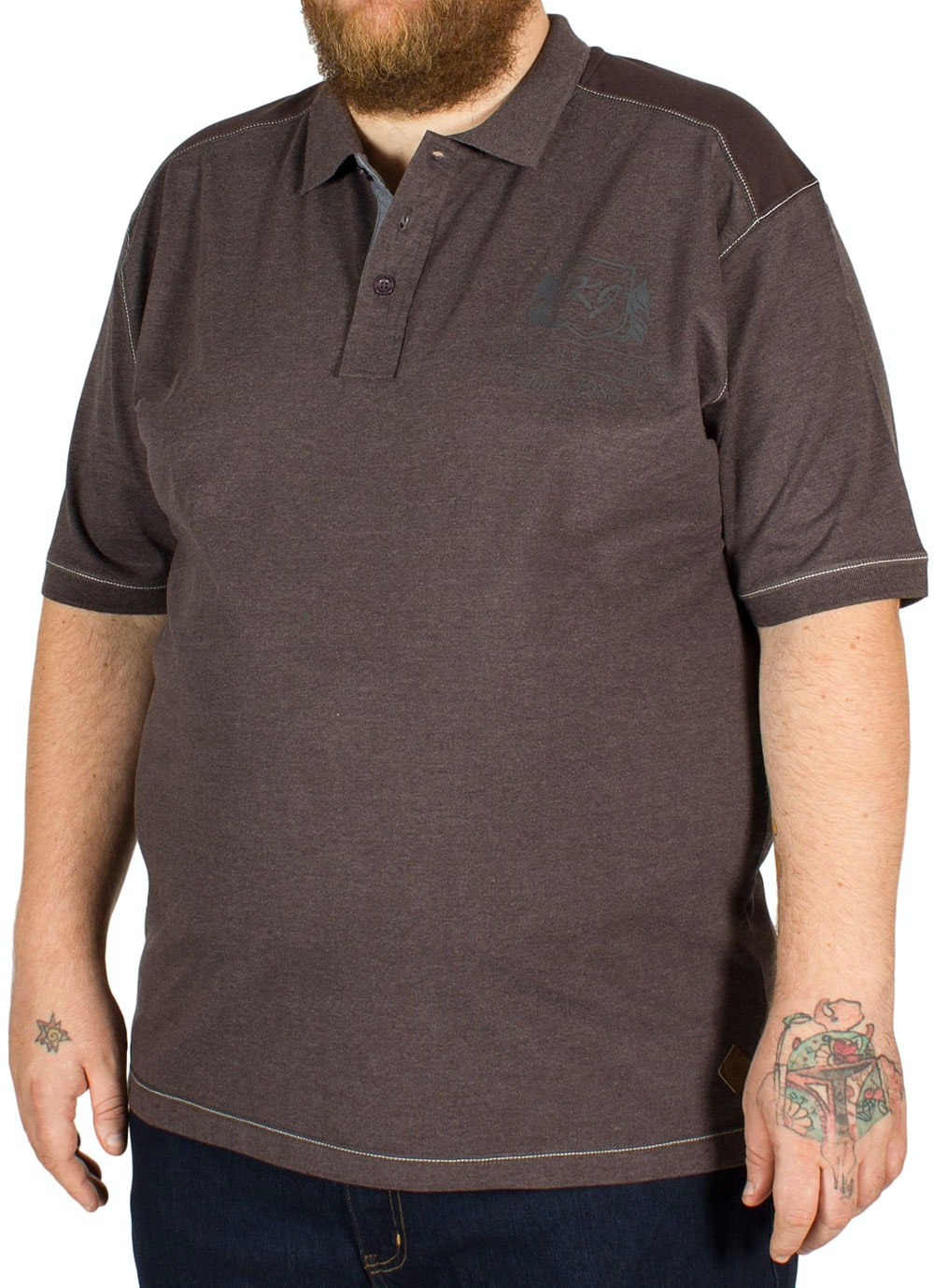 KAM Jersey Polo Shirt Charcoal