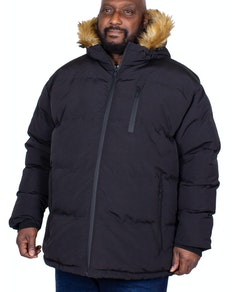 Bigdude Trailblazer Faux Fur Hooded Parka Black