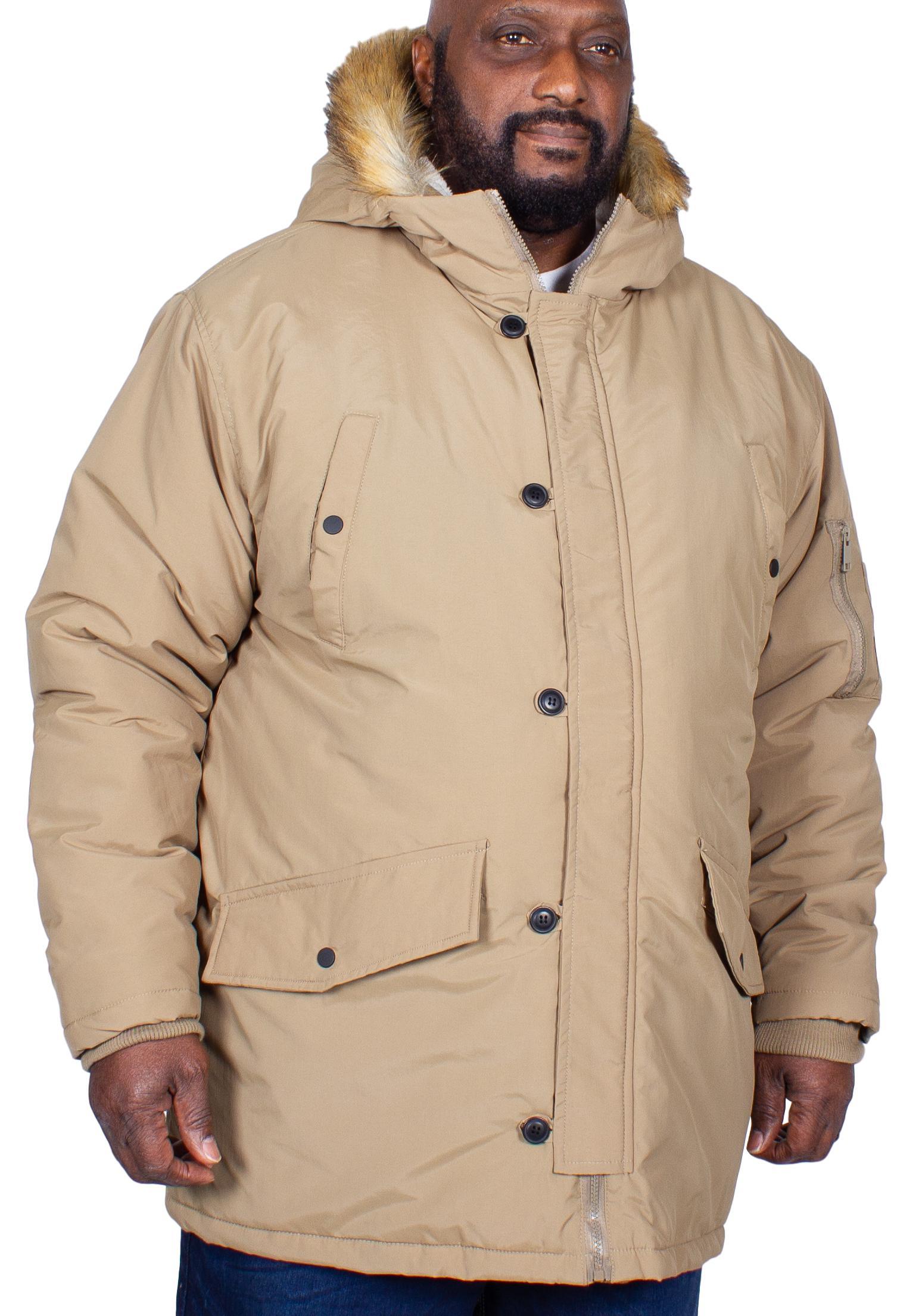 Big Mens D555 Lovett Parka Jacket Navy 3XL 5XL 4XL 6XL