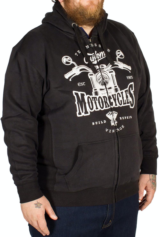KAM Motorcycle Print Hoody Black
