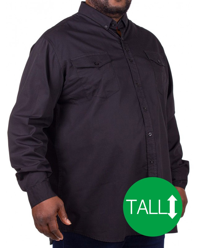 D555 Plain Long Sleeve Shirt Black Tall