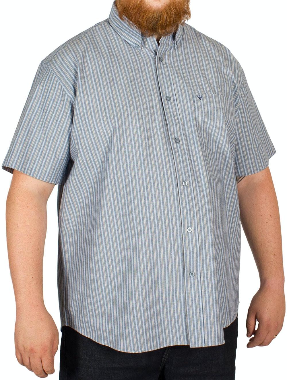 Cotton Valley Striped Oxford Shirt Blue