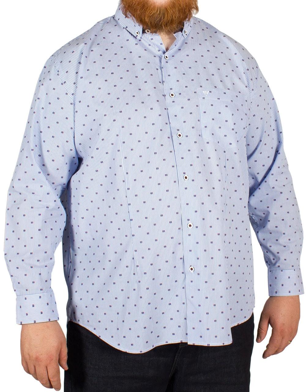 Cotton Valley Stripe Print Long Sleeved Shirt Blue