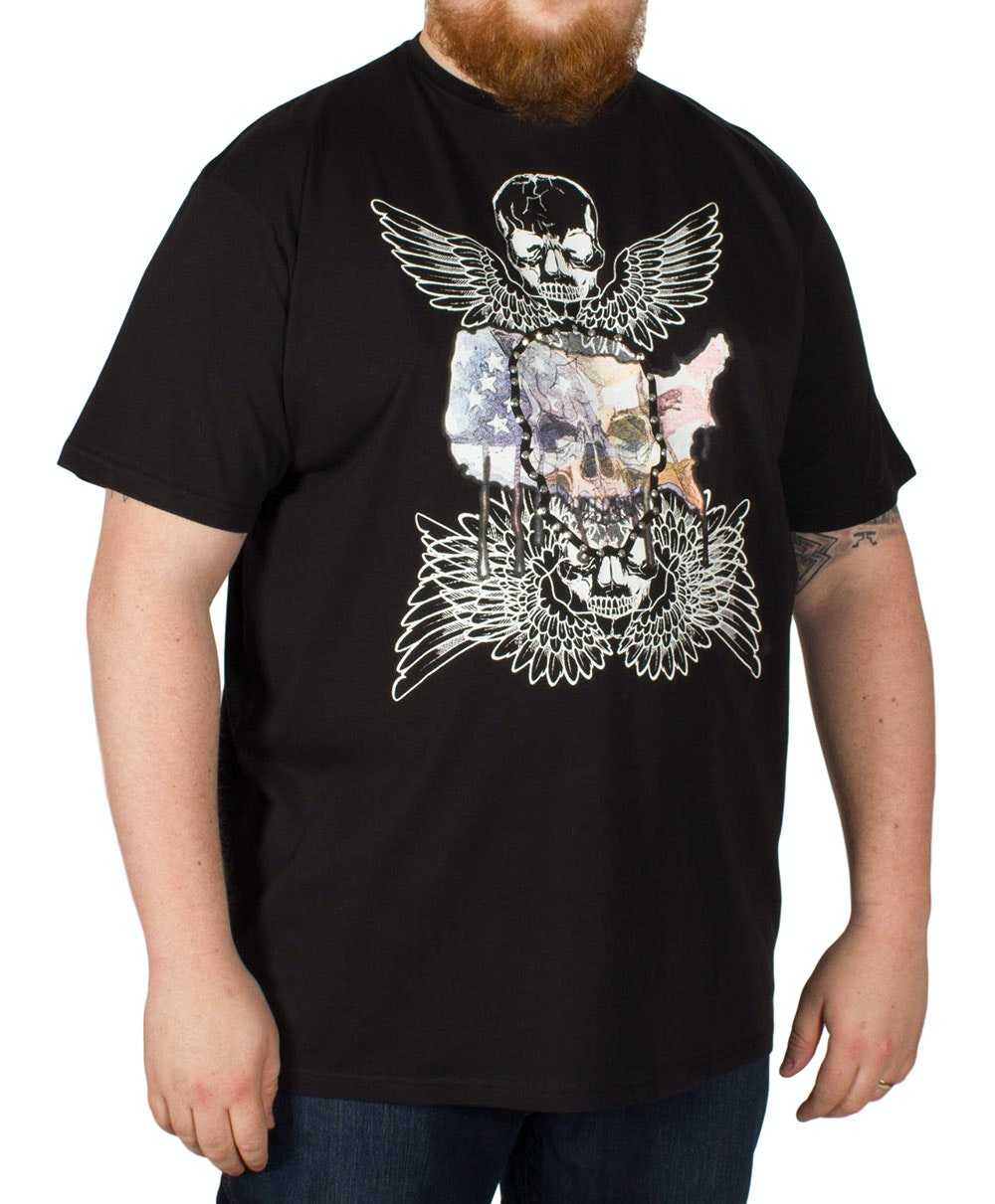 Metaphor Skull Wings Print T-Shirt