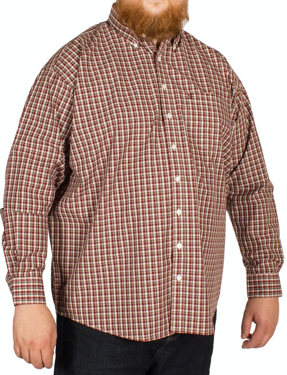 Farah Birket Long Sleeved Check Shirt Deep Red