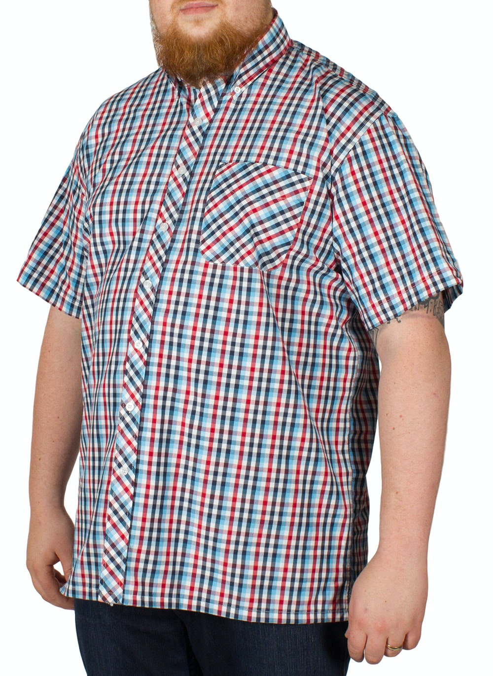 Espionage Short Sleeve Check Shirt Navy/Blue/Red