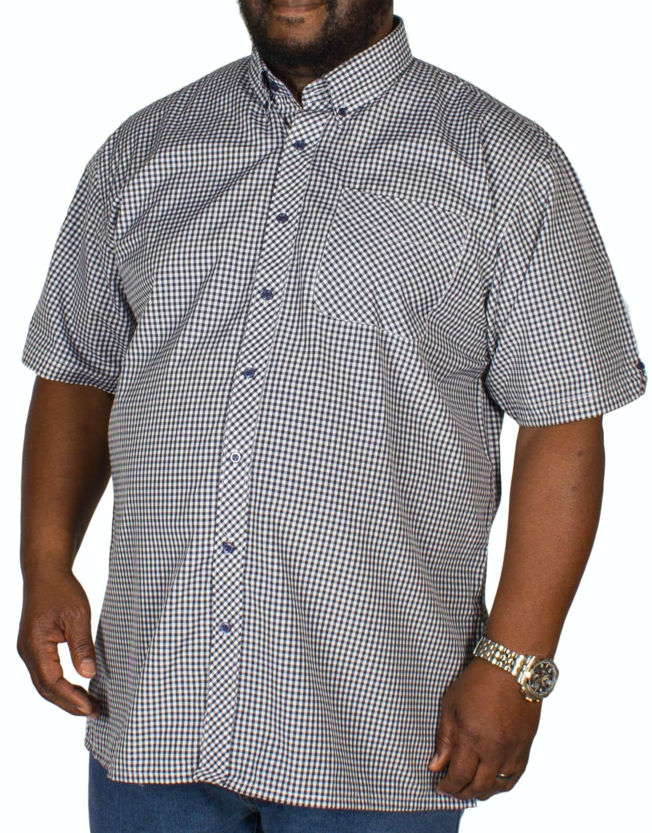 Espionage Gingham Short Sleeve Shirt Navy/White
