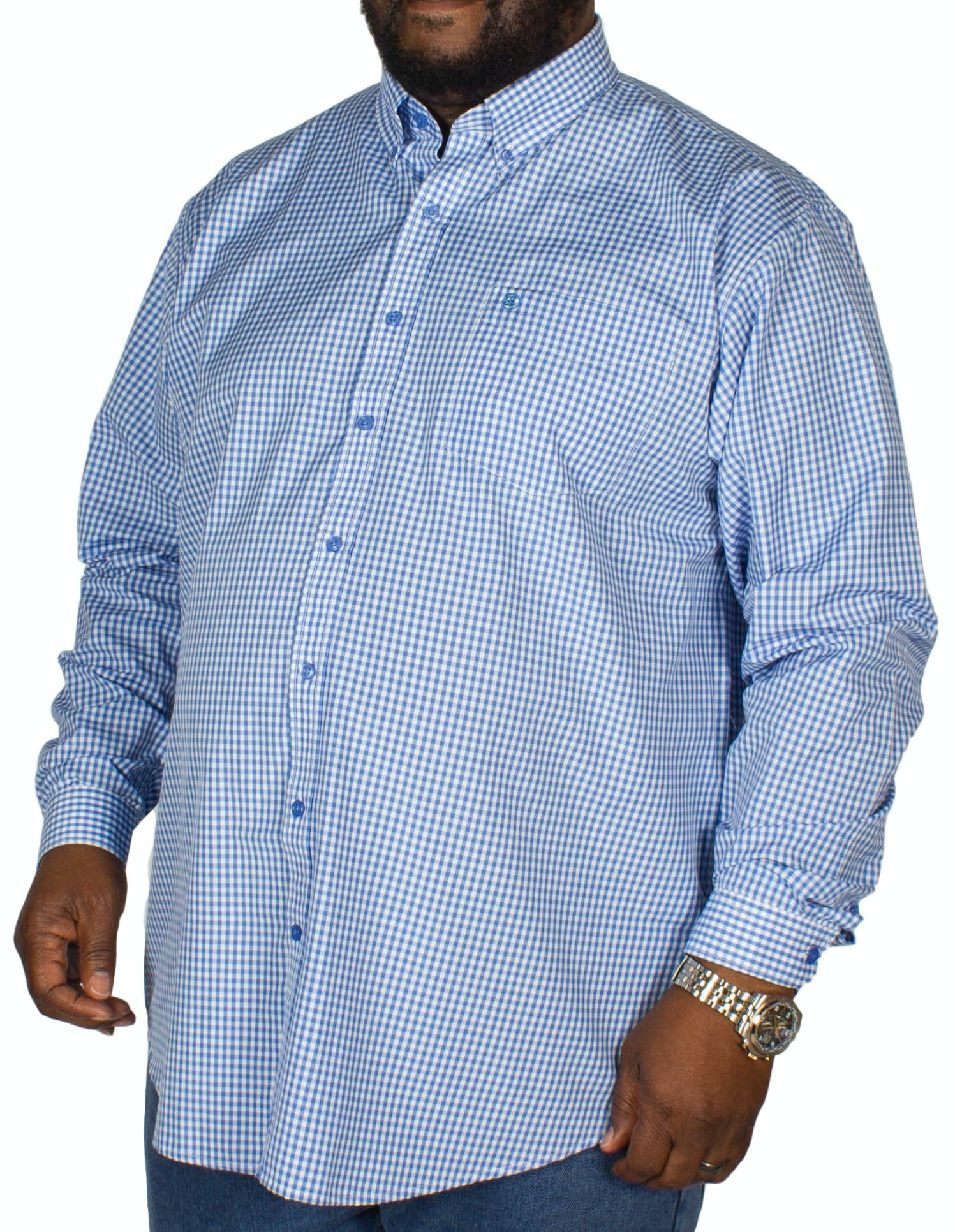 Espionage Gingham Long Sleeve Shirt Blue/White