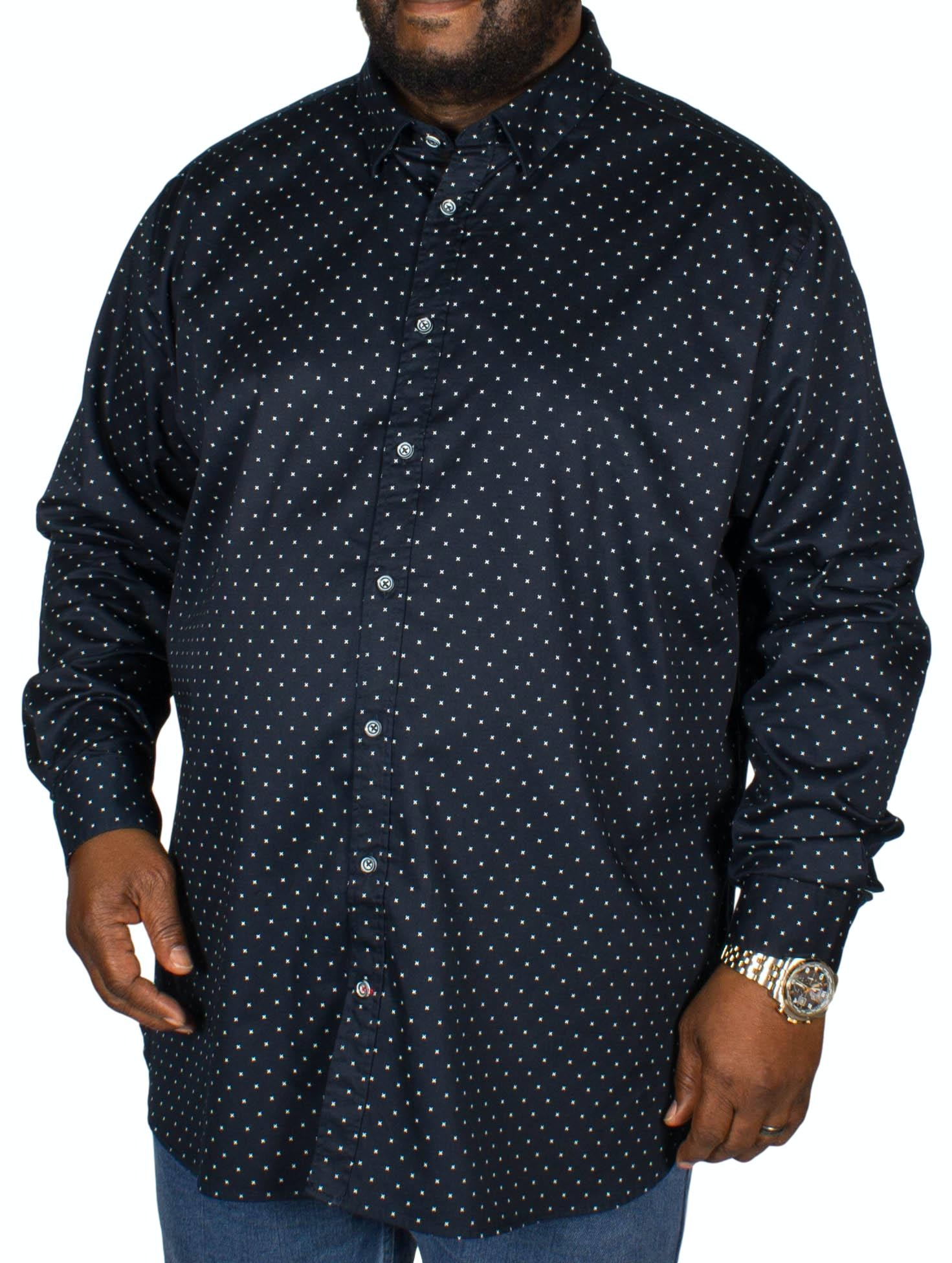 D555 Rashard Cross Print Shirt Navy