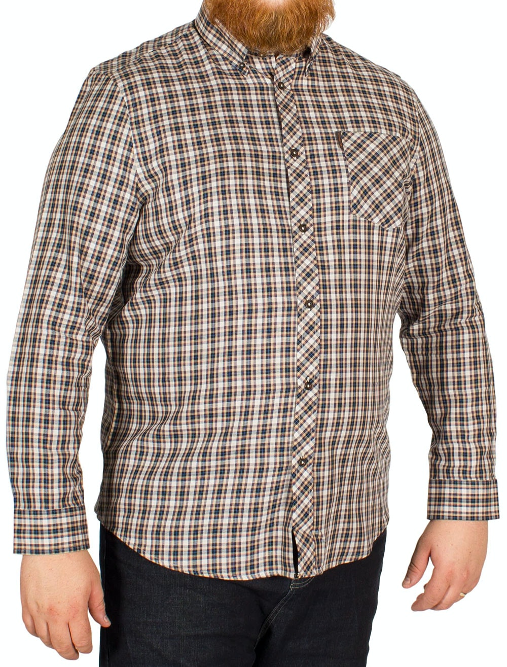 Ben Sherman Twill Check Shirt Beige