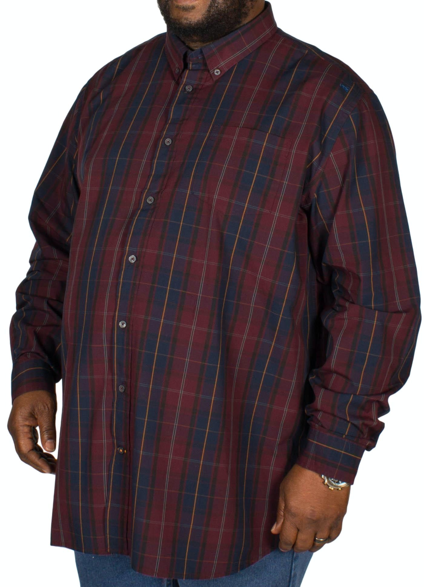 D555 Grady Check Shirt Navy/Wine Tall