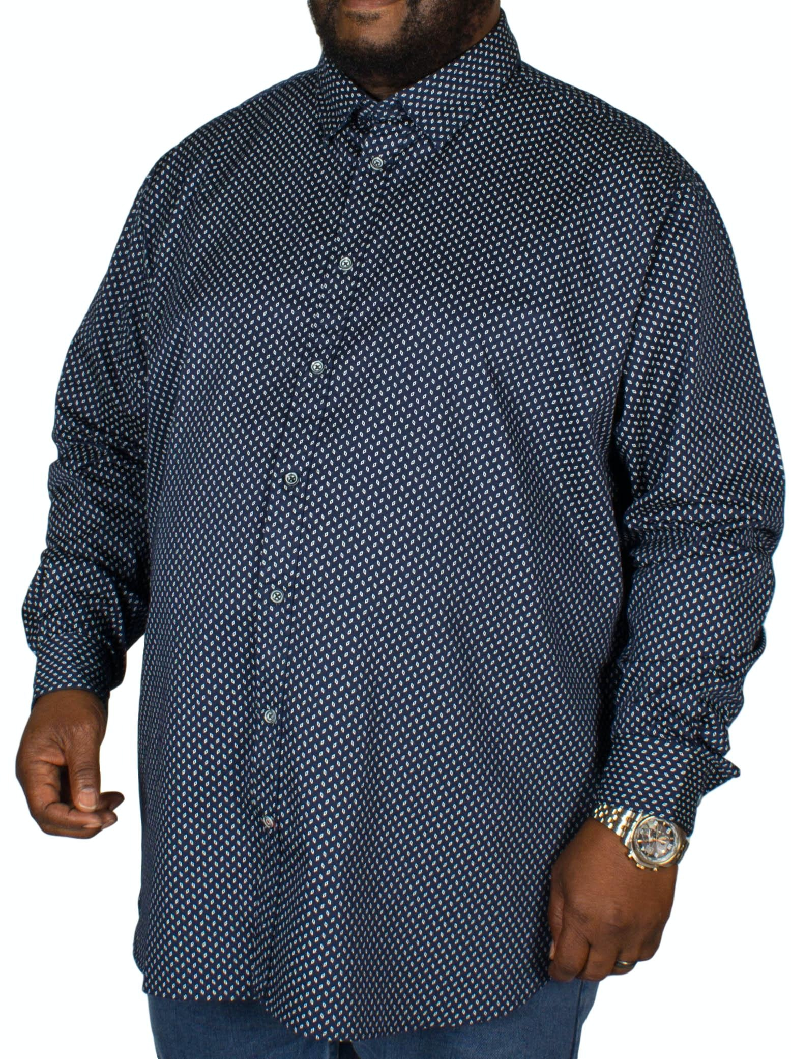 D555 Lavar Diamond Print Shirt Navy